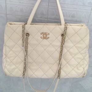 Authentic Chanel Off-White Large Tote